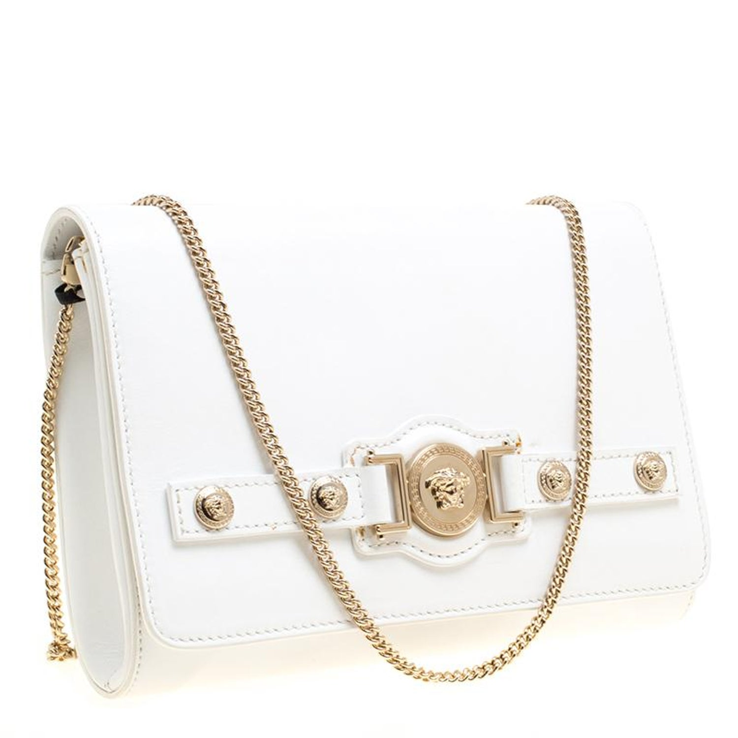 31ac62b713f0 Versace White Leather Chain Clutch Bag at 1stdibs