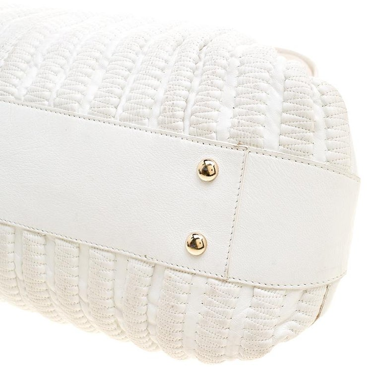 Versace White Leather Dome Satchel For Sale 6