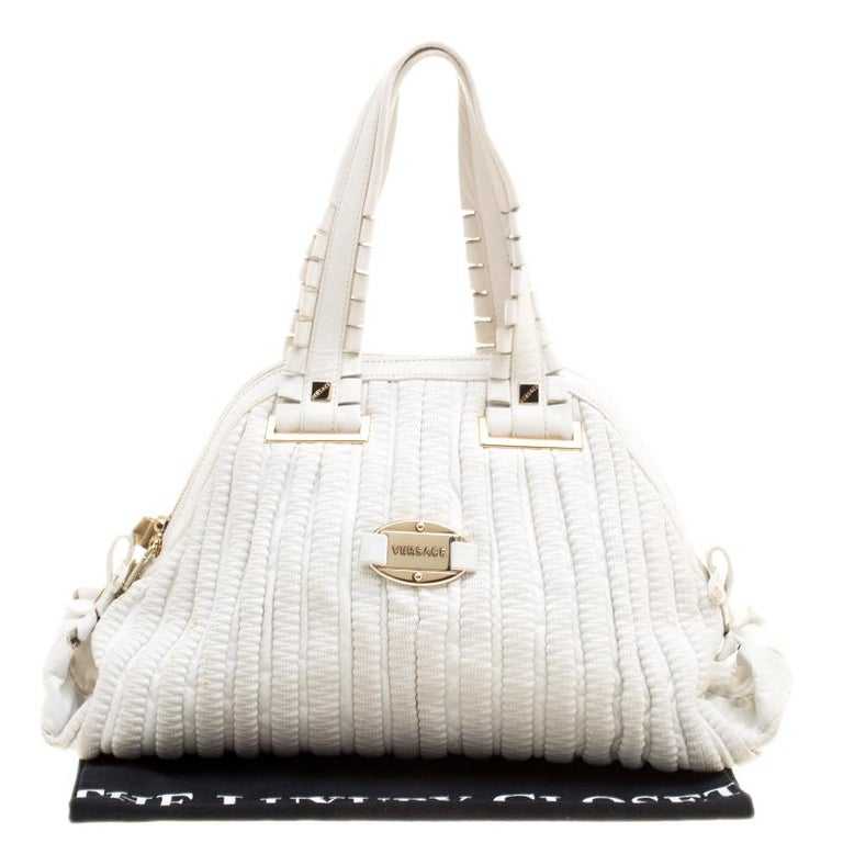 Versace White Leather Dome Satchel For Sale 7