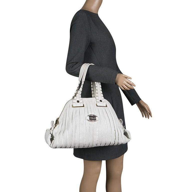 Versace White Leather Dome Satchel In Good Condition For Sale In Dubai, Al Qouz 2