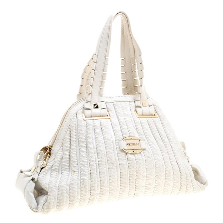 Women's Versace White Leather Dome Satchel For Sale