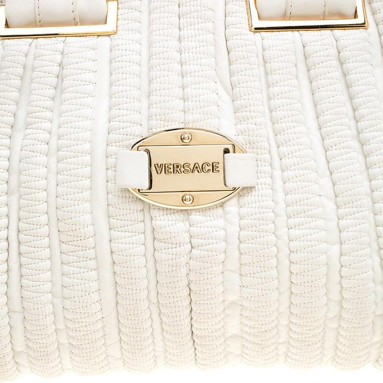 Versace White Leather Dome Satchel For Sale 1