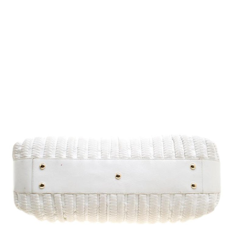 Versace White Leather Dome Satchel For Sale 2