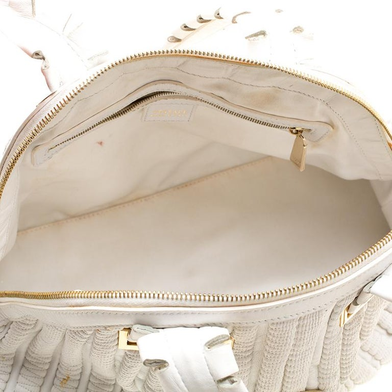 Versace White Leather Dome Satchel For Sale 3
