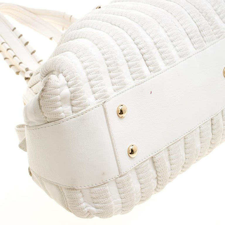 Versace White Leather Dome Satchel For Sale 5