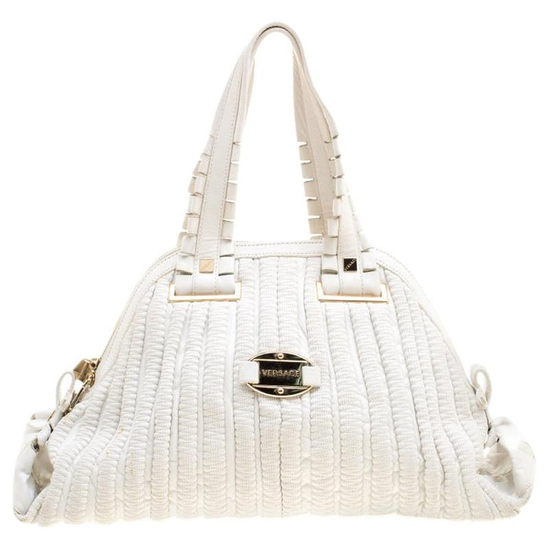 Versace White Leather Dome Satchel For Sale