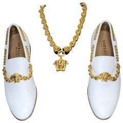VERSACE WHITE LEATHER LOAFER SHOES 44 - 11 and w/ 24K PLATED MEDUSA CHAIN SET