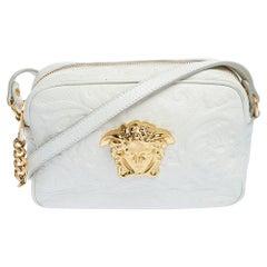 Versace White Leather Palazzo Medusa Camera Crossbody Bag