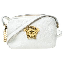 Versace White Leather Palazzo Medussa Crossbody Bag