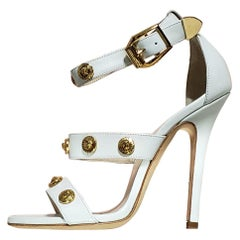 VERSACE  white leather SIGNATURE MEDUSA studded shoes