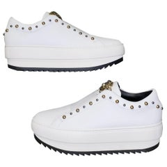 VERSACE WHITE LEATHER SNEAKERS with GOLD 3D MEDUSA 36.5, 37