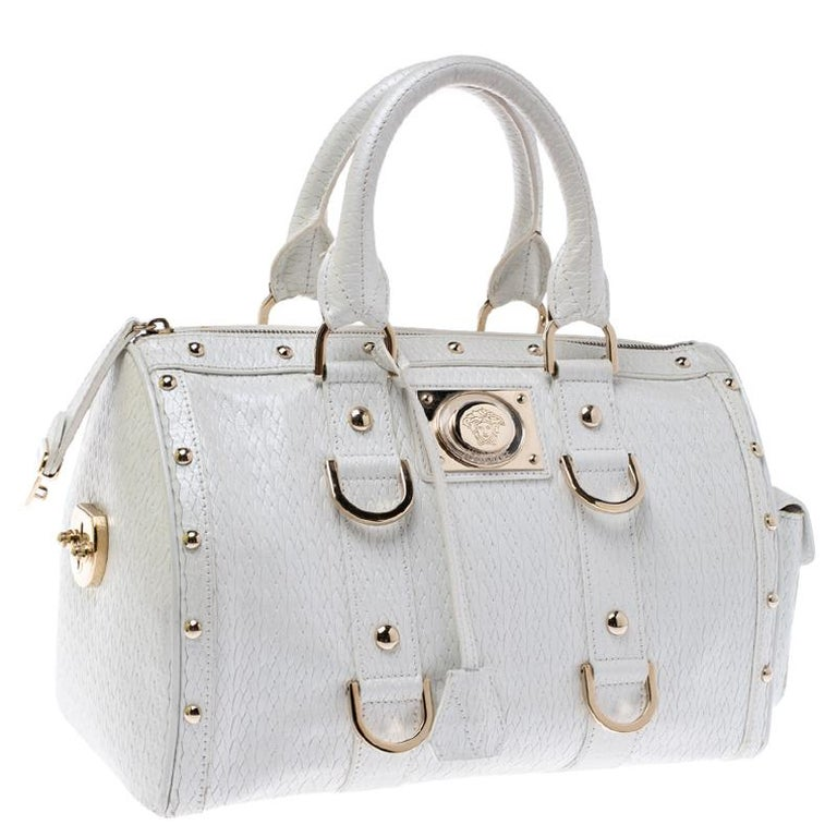 Versace White Leather Studded Satchel For Sale 5