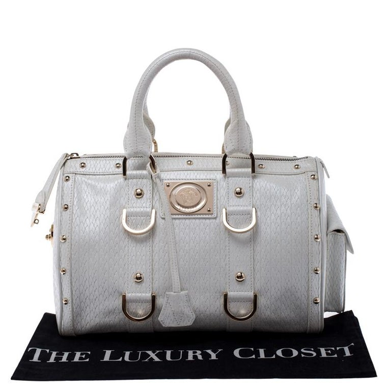 Versace White Leather Studded Satchel For Sale 6