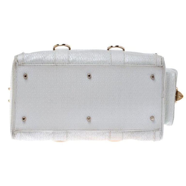 Versace White Leather Studded Satchel In Good Condition For Sale In Dubai, Al Qouz 2