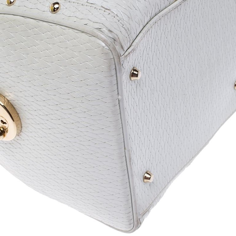 Women's Versace White Leather Studded Satchel For Sale