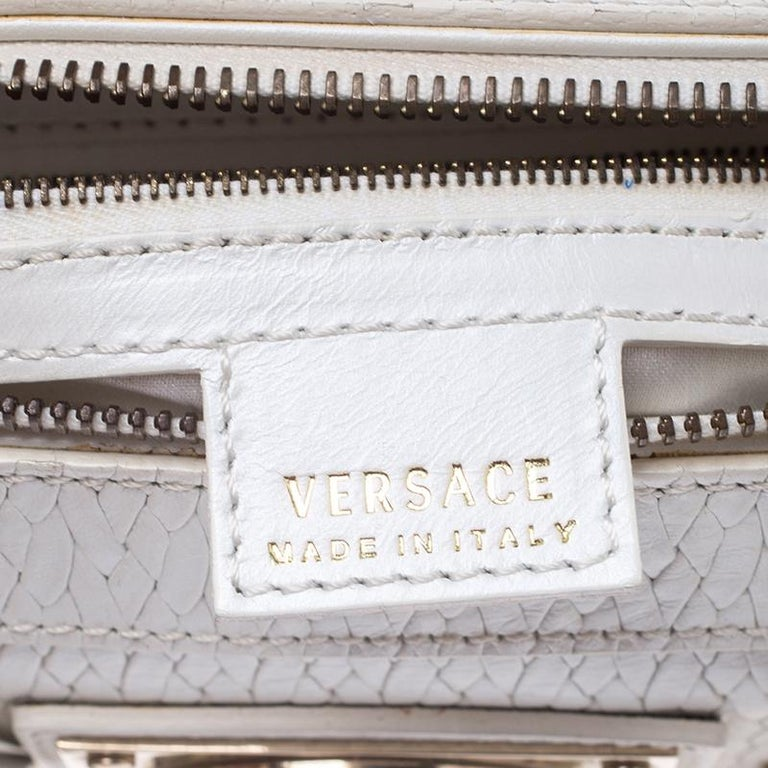 Versace White Leather Studded Satchel For Sale 4