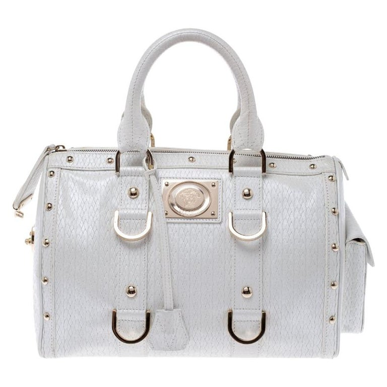 Versace White Leather Studded Satchel For Sale