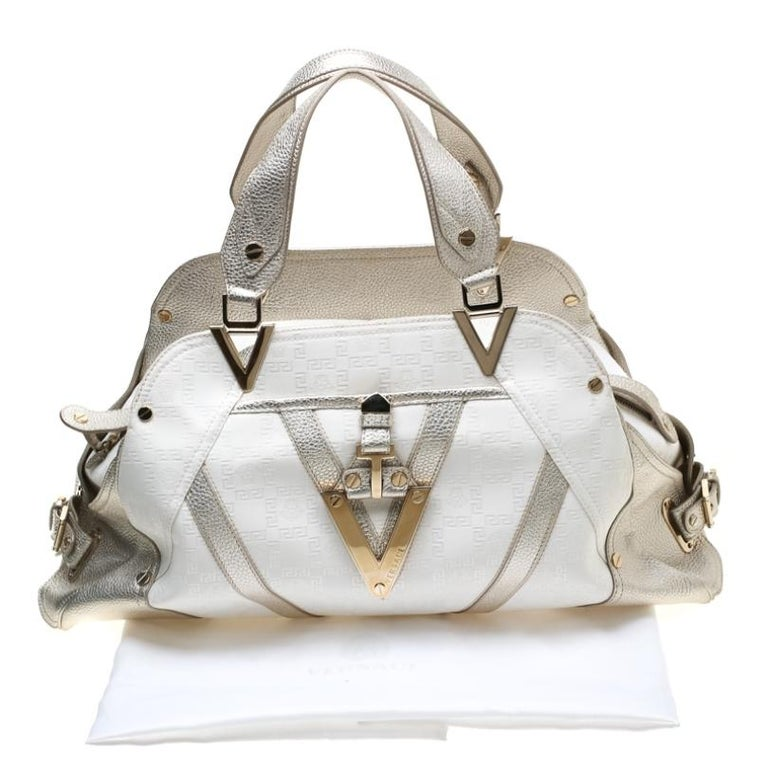 Versace White/Light Gold Canvas and Leather Satchel For Sale 7