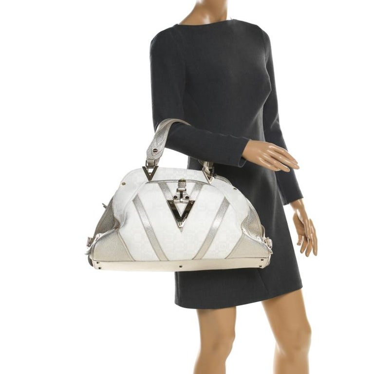 Versace White/Light Gold Canvas and Leather Satchel In Excellent Condition For Sale In Dubai, Al Qouz 2