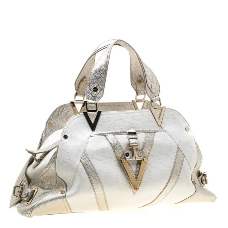 Women's Versace White/Light Gold Canvas and Leather Satchel For Sale