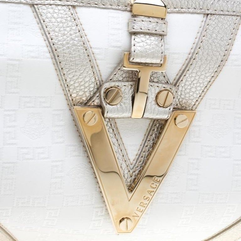 Versace White/Light Gold Canvas and Leather Satchel For Sale 2