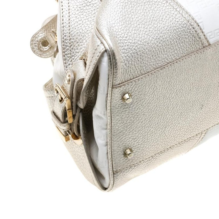 Versace White/Light Gold Canvas and Leather Satchel For Sale 3
