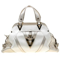Versace White/Light Gold Canvas and Leather Satchel
