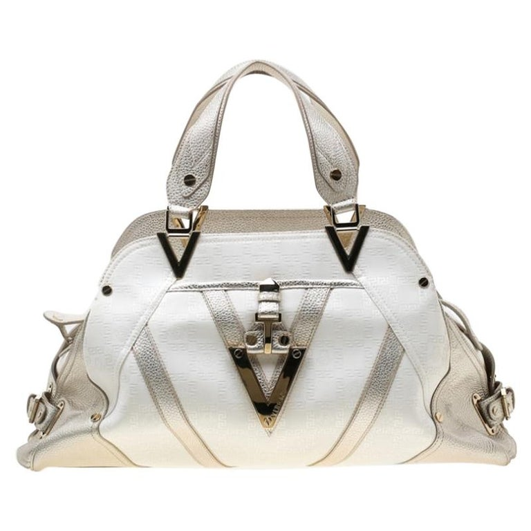 Versace White/Light Gold Canvas and Leather Satchel For Sale