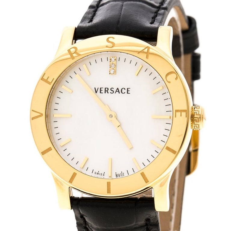 Contemporary Versace White Mother of Pearl Gold Plated Steel VQA Women's Wristwatch 33 mm For Sale