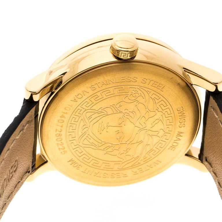 Versace White Mother of Pearl Gold Plated Steel VQA Women's Wristwatch 33 mm For Sale 2
