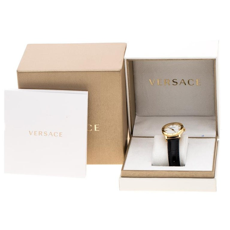 Versace White Mother of Pearl Gold Plated Steel VQA Women's Wristwatch 33 mm For Sale 4