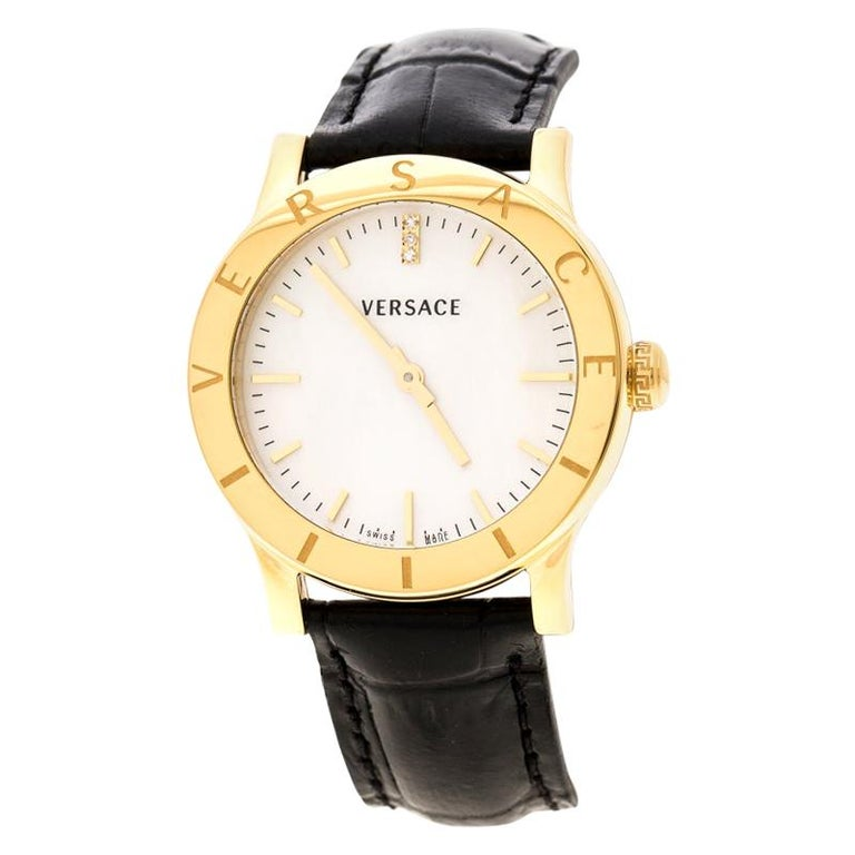 Versace White Mother of Pearl Gold Plated Steel VQA Women's Wristwatch 33 mm For Sale