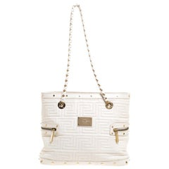 Versace White Quilted Leather Sided Zip Tote