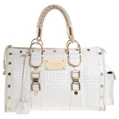 Versace White Quilted Leather Snap Out Of It Satchel
