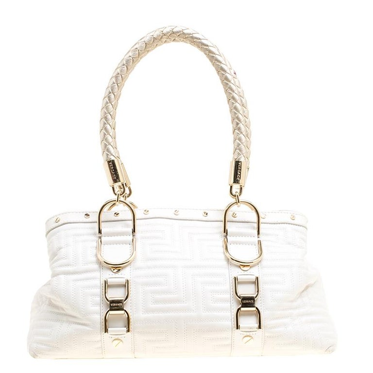 2850dbed Versace White Quilted Leather Snap Out Of It Tote