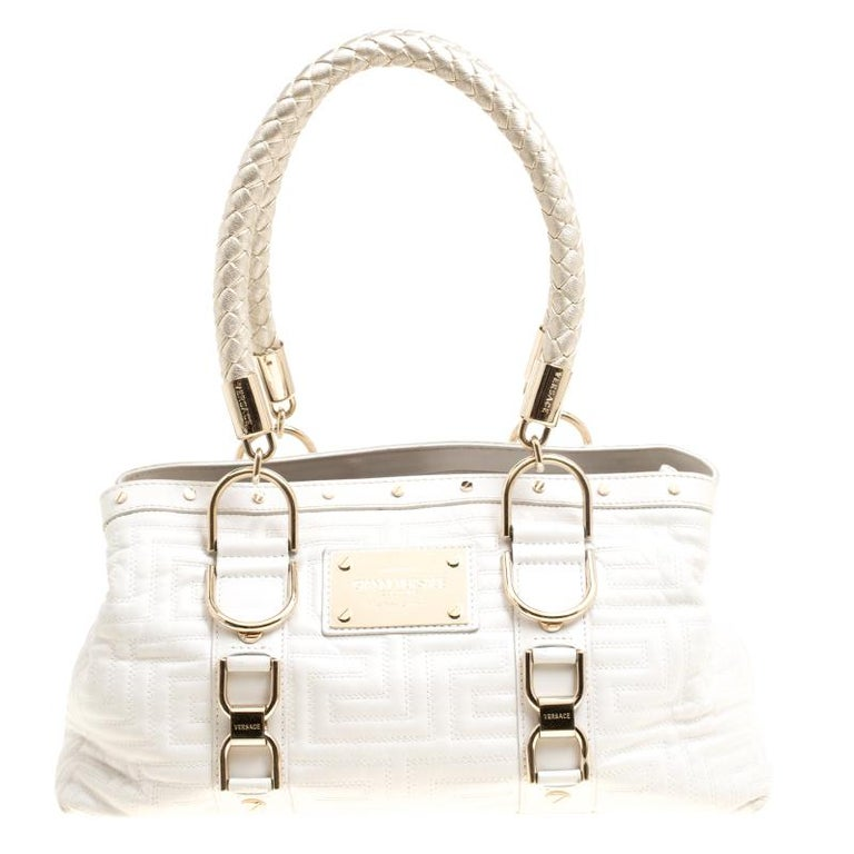 ecfdadd6a65b Versace White Quilted Leather Snap Out Of It Tote For Sale at 1stdibs