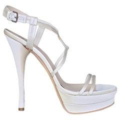 VERSACE WHITE SATIN PUMP PLATFORM Sandals 40 - 10