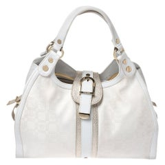 Versace White Signature Fabric and Leather Tote