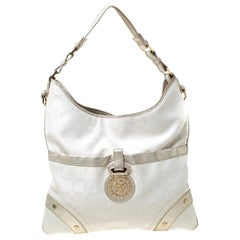 Versace White/Silver Signature Fabric and Leather Hobo