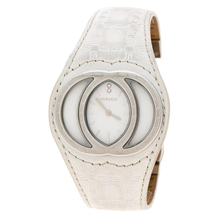 Versace White Stainless Steel Eclissi 74Q Women's Wristwatch 39 mm For Sale