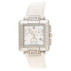 Versace White Stainless Steel Reve Carre 88Q Chronograph Womens Wristwatch 36 mm