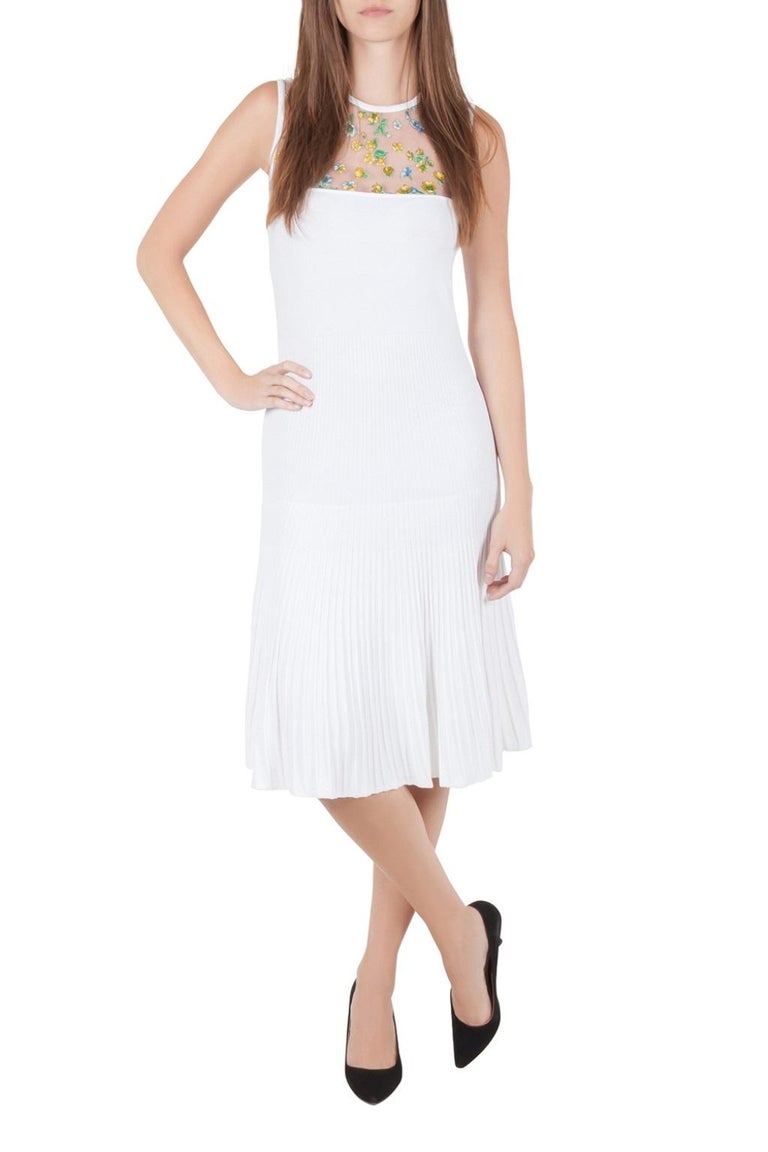 Women's Versace White Stretch Crepe Floral Printed Sheer Yoke Sleeveless Dress S For Sale