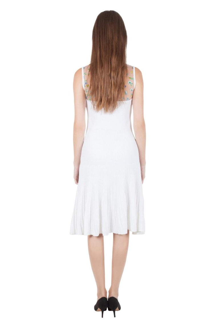 Versace White Stretch Crepe Floral Printed Sheer Yoke Sleeveless Dress S For Sale 1