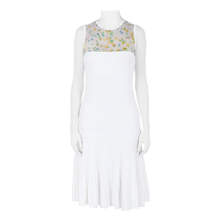 Versace White Stretch Crepe Floral Printed Sheer Yoke Sleeveless Dress S For Sale
