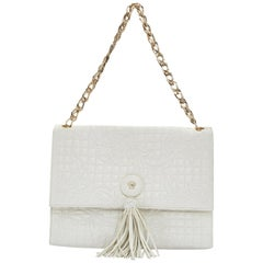 VERSACE white Vanitas Barocco quilted leather Medusa tassel gold chain flap bag