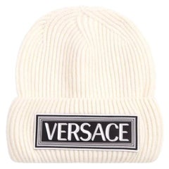 Versace White Wool Beanie Hat with 90s Vintage Logo