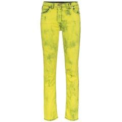 Versace Yellow Acid Wash Denim Skinny Jeans with Logo Label Size 29