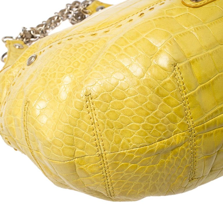 Versace Yellow Croc Embossed Leather Kiss Satchel For Sale 6