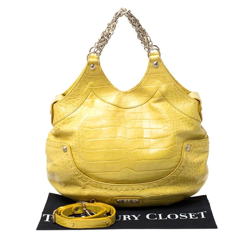 Versace Yellow Croc Embossed Leather Kiss Satchel For Sale 7
