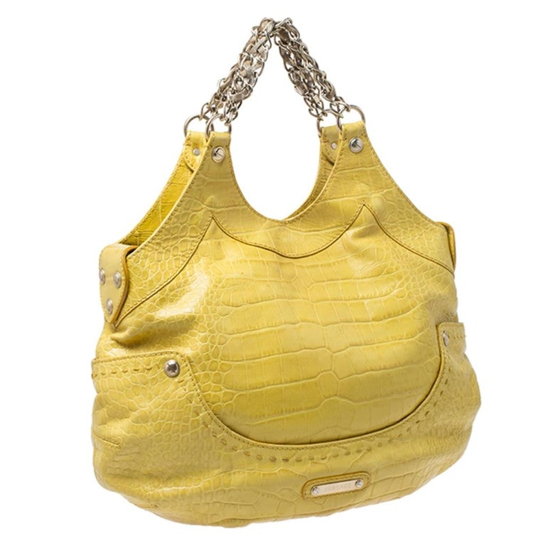 Women's Versace Yellow Croc Embossed Leather Kiss Satchel For Sale